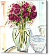 Valentines Crystal Rose Acrylic Print by Clara Sue Beym