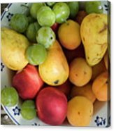 Variety Of Fresh Summer Fruit On A Plate Acrylic Print by Sami Sarkis