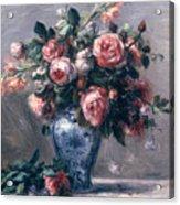 Vase Of Roses Acrylic Print by Pierre Auguste Renoir