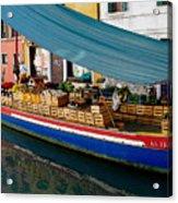 Venice Fresh Market Boat Acrylic Print by Italian Art