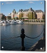 Victoria Harbour With Railing Acrylic Print by Carol Groenen