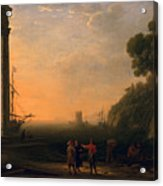 View Of Seaport Acrylic Print by Claude Lorrain