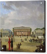 View Of The Grand Theatre Constructed In The Place De La Concorde For The Fete De La Paix Acrylic Print by Jean Baptiste Louis Cazin
