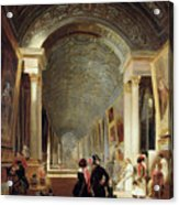 View Of The Grande Galerie Of The Louvre Acrylic Print by Patrick Allan Fraser
