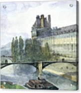 View Of The Pavillon De Flore Of The Louvre Acrylic Print by Francois-Marius Granet