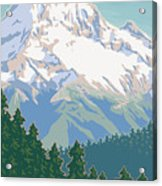 Vintage Mount Hood Travel Poster Acrylic Print by Mitch Frey