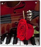 Violin And Rose On Piano Acrylic Print by Garry Gay