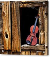 Violin In Window Acrylic Print by Garry Gay