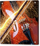 Violin With Sparks Flying From The Bow Acrylic Print by Garry Gay
