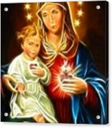 Virgin Mary And Baby Jesus Sacred Heart Acrylic Print by Pamela Johnson