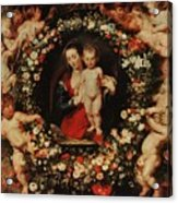 Virgin With A Garland Of Flowers Acrylic Print by Peter Paul Rubens