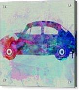 Vw Beetle Watercolor 1 Acrylic Print by Naxart Studio
