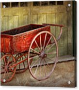 Wagon - That Old Red Wagon  Acrylic Print by Mike Savad