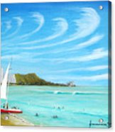 Waikiki Acrylic Print by Jerome Stumphauzer