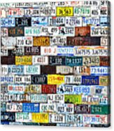 Wall Of American License Plates Acrylic Print by Christine Till