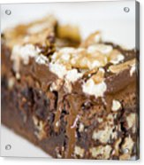Walnut Brownie On A White Plate Acrylic Print by Ulrich Schade