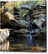Waterfall At Old Man Cave Acrylic Print by Larry Ricker