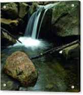 Waterfall In The Woods Acrylic Print by Kathy Yates