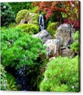 Waterfalls In Japanese Garden Acrylic Print by Carol Groenen