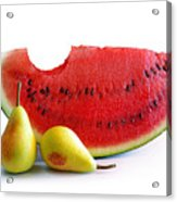 Watermelon And Pears Acrylic Print by Carlos Caetano