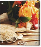 Wedding Ring With Bouquet On Velvet  Acrylic Print by Sandra Cunningham