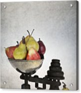 Weighing Pears Acrylic Print by Jane Rix
