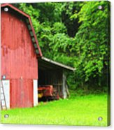 West Virginia Barn And Baler Acrylic Print by Thomas R Fletcher