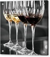 White And Red Wine Glasses Acrylic Print by Edward Duckitt