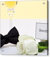 White Rose Bow Tie And Invitation. Acrylic Print by Richard Thomas