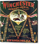 Winchester Double W Cartridge Board Acrylic Print by Unknown