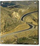 Winding  King Road In Wadi Mujib Valley Acrylic Print by Sami Sarkis