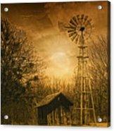 Windmill At Sunset Acrylic Print by Iris Greenwell
