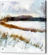 Windmill In The Snow Acrylic Print by Valerie Anne Kelly