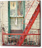 Window And Red Fire Escape Acrylic Print by Gary Heller