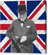Winston Churchill And His Flag Acrylic Print by War Is Hell Store