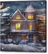 Winter - Clinton Nj - A Victorian Christmas  Acrylic Print by Mike Savad
