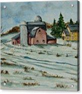 Winter Down On The Farm Acrylic Print by Charlotte Blanchard