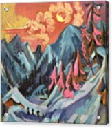 Winter Landscape In Moonlight Acrylic Print by Ernst Ludwig Kirchner