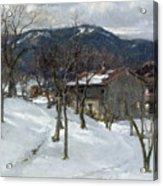 Winter Landscape Near Kutterling Acrylic Print by Johann Sperl