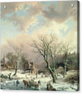 Winter Scene   Acrylic Print by Johannes Petrus van Velzen