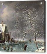 Winter Scene Acrylic Print by Louis Claude Mallebranche