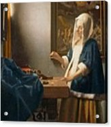 Woman Holding A Balance Acrylic Print by Jan Vermeer