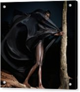 Woman In Black Flying Outfit Acrylic Print by Oleksiy Maksymenko