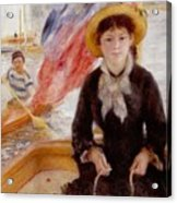 Woman In Boat With Canoeist Acrylic Print by Renoir