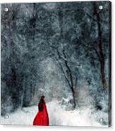 Woman In Red Cape Walking In Snowy Woods Acrylic Print by Jill Battaglia