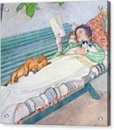 Woman Lying On A Bench Acrylic Print by Carl Larsson