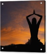 Woman Practicing Yoga Acrylic Print by Utah Images