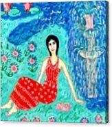Woman Reading Beside Fountain Acrylic Print by Sushila Burgess