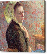 Woman Wearing A Green Headscarf Acrylic Print by Camille Pissarro