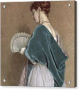 Woman With A Fan Acrylic Print by John Dawson Watson
